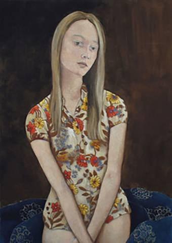 Bilde av A Girl With Flowers On Her Shirt av June Sira