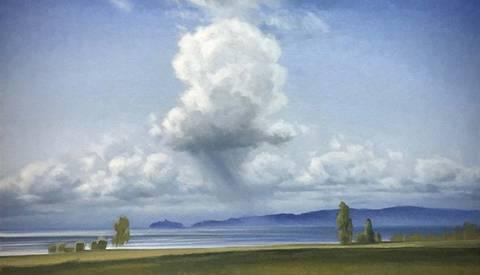 Bilde av Sollys og regn over Mjøsa maleri av Christopher Rådlund